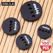 100pcs Black Resin Shirt Buttons Handmade Wooden Clothing Four Holes Convex Letter Support wholesale ordering