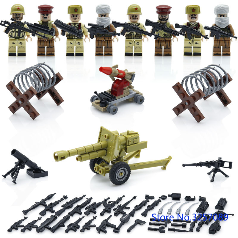 2017 HOT Weltkrieg 2 campaign Soviet vs Afghanistan Military Army Soldiers weapons building blocks toys Compatible LegoINGlys pvc building blocks army field combat military escort weapons