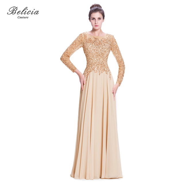 Belicia Couture Elegant Beading Evening Dress Formal Prom Dresses With Open  Back A-Line Long Sleeves and Circle Cutt Skirt 465e8533da88
