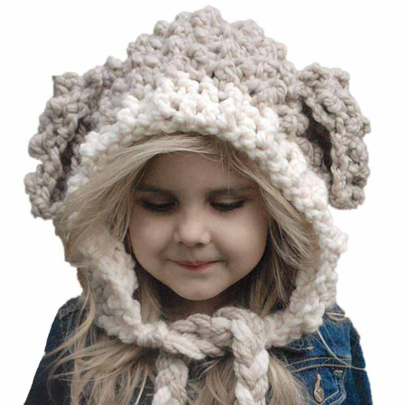 Baby Hats For Girls High Quality Winter Wool Knitted Fox Hats Baby Girls Shawls Hooded Cowl Beanie Caps touca infantil #50