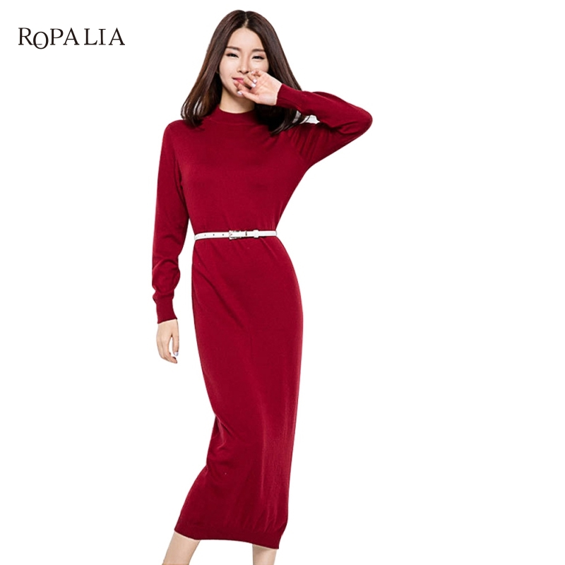 Casual Long Knitted Sweater Dress Slim Bodycon Dress Pullover Female Autumn Winter Dress