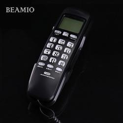 Mini Wall Fixed Telephone Call ID Redial DEL Hotel Bathroom Home Business Office Telephone Landline Mini Phones Small Home Black