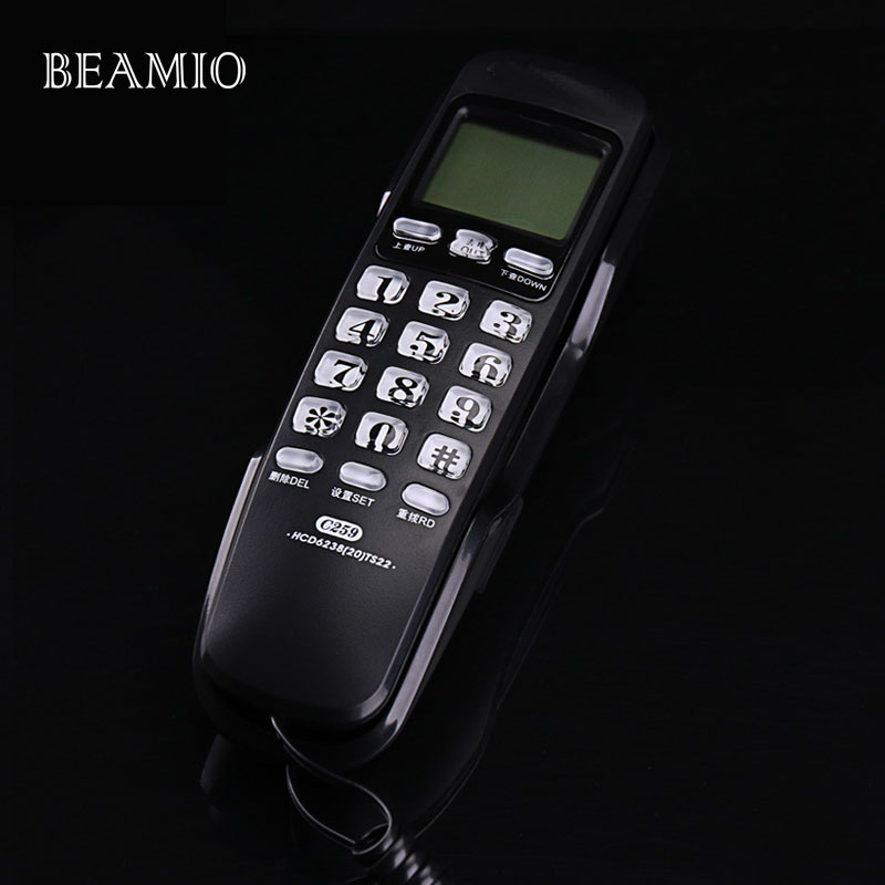 Mini Wall Fixed Telephone Call ID Redial DEL Hotel Bathroom Home Business Office Telephone Landline Mini Phones Small Home Black