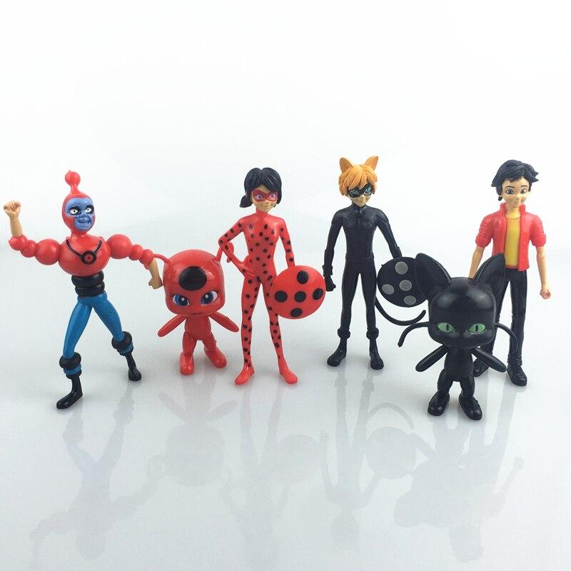 6pcs//lot Miraculous Ladybug Cat nendoroid Noir Juguetes Toy Doll action figure