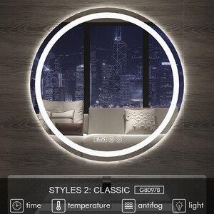 Image 2 - Gisha חכם מראה LED אמבטיה מראה קיר מראה בחדר אמבטיה אמבטיה אסלה אנטי ערפל מראה עם מסך מגע Bluetooth G8097