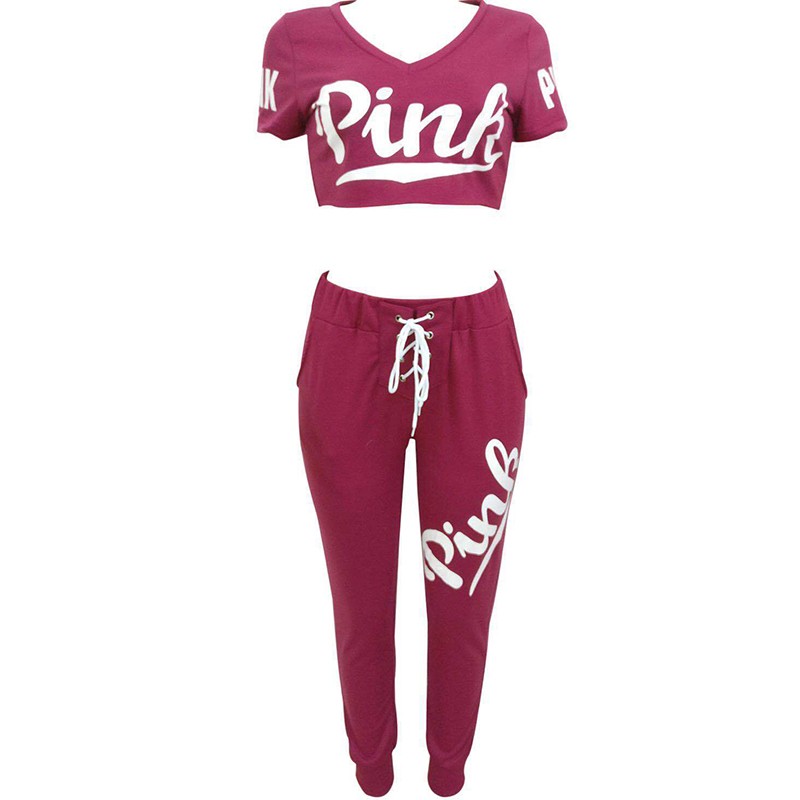 2019 2 Pieces Set Women Pink Letters Print V Neck Short Sleeve Crop Top And Long Trousers Femme Pants Outfits Women Tracksuit