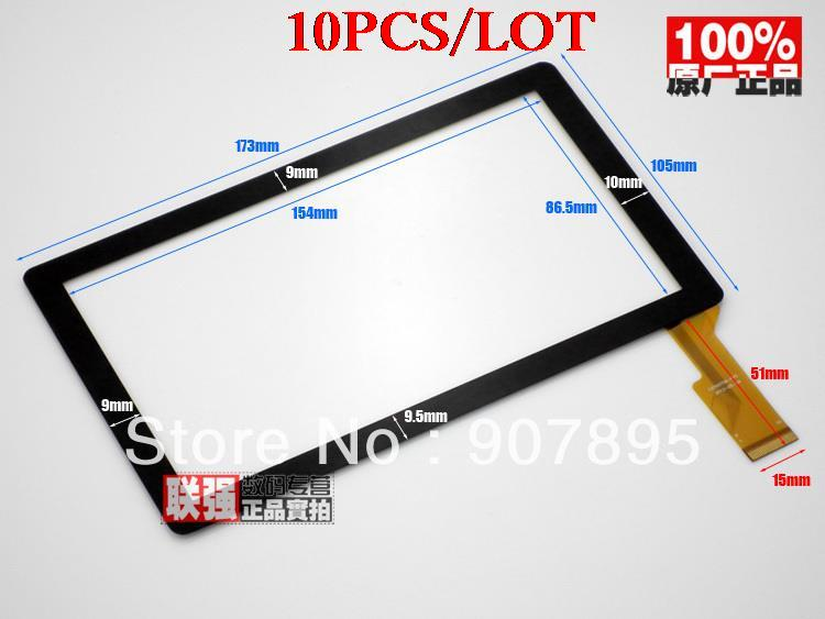 10pcS  7inch capacitive touch panel  touch screen digitizer glass for All Winner A13 Q8 tablet pc MID CZY6075A-Fpc for trekstor surftab wintron 10 1 pure st10432 6 tablet capacitive touch screen 10 1 inch pc touch panel digitizer glass