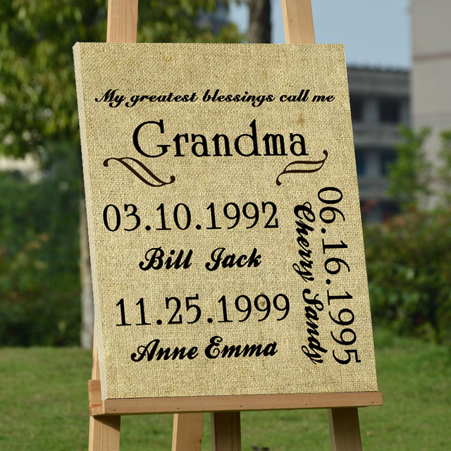 Anniversary grandma and family members wedding decoration guest book anniversary grandma and family members wedding decoration guest book unique canvas guestbook custom blessing party accessories junglespirit Image collections