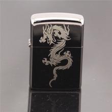 Classic Kerosene Black Mirror Vintage Style Lighter Flying Dragon Cigarette Lighter Oil Metal Smooth