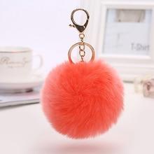 купить 8CM 29Color Puff Ball KeyChains Personalised Cute Key Chains Womens Rings Key Chains Big Ball Car Bag Customized Key Chains недорого