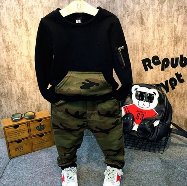 New Boys Clothing Sets 2016 Autumn Kids clothes set full sleeves blouse + camouflage pants suits Kids tracksuits for 2-7 years