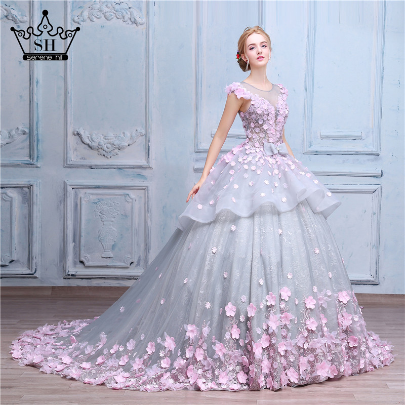 Pink flower ball gown wedding dress bridal dress robe de for Wedding dress made of flowers