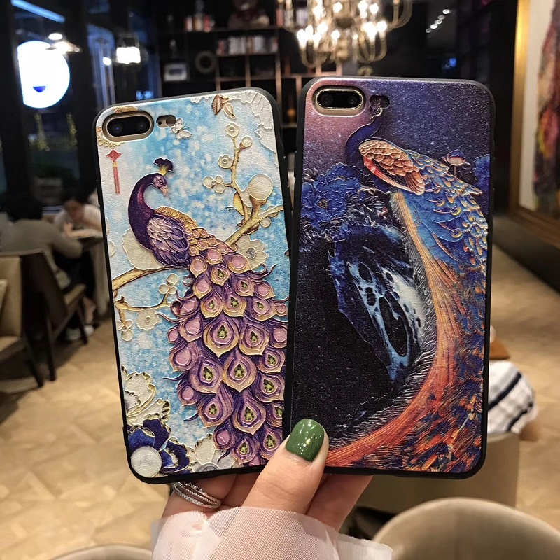 Necono 3d Relief Peacock Phone Case For Iphone X 8 7plus