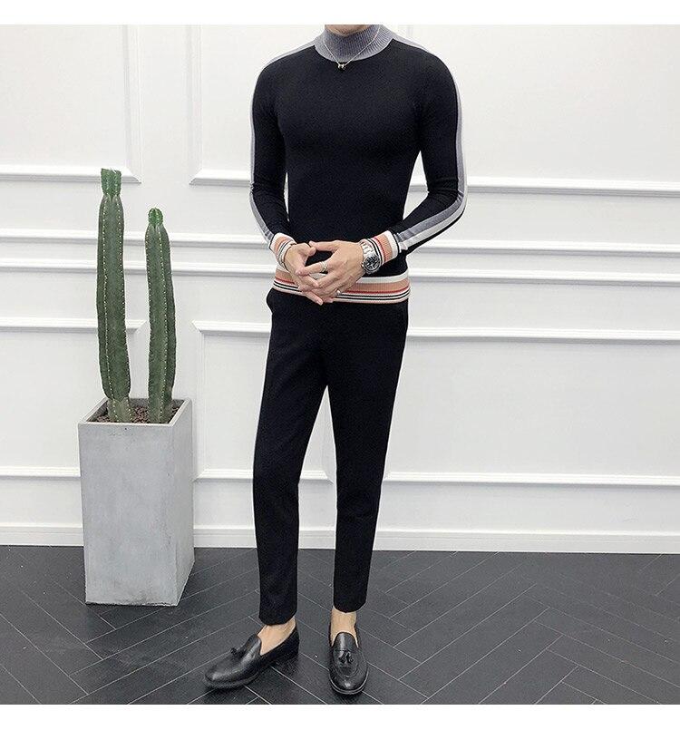 Coréenne Roulé Brown Mode Col Mens Social Qualité Homme Chandail ardoisé Fit Slim noir Dark Luxe Automne Chandails Hommes Pull Haute Gris IqwgwxSz