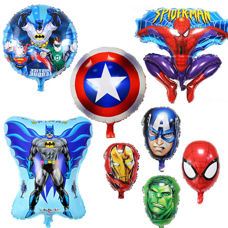 Avengers Foil Balloon Superhero Iron Man Green Spider-Man Balloons birthday party decorations kids Supplies kids toys