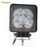 4 Inch 27W High Power 9X 3W Square LED Work Light 12V Spot Beam For 4x4
