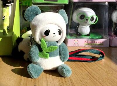 Мультяшная фигура брелок Панда брелоки для женщины сумки аксессуары Шарм Подвеска плюшевая мягкая игрушка повязка на запястье брелок для ключей, подарочный - Цвет: Зеленый