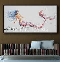 knife painting pure hand-painted canvas oil decorations Red mermaid lying on the beach wall art hand painted