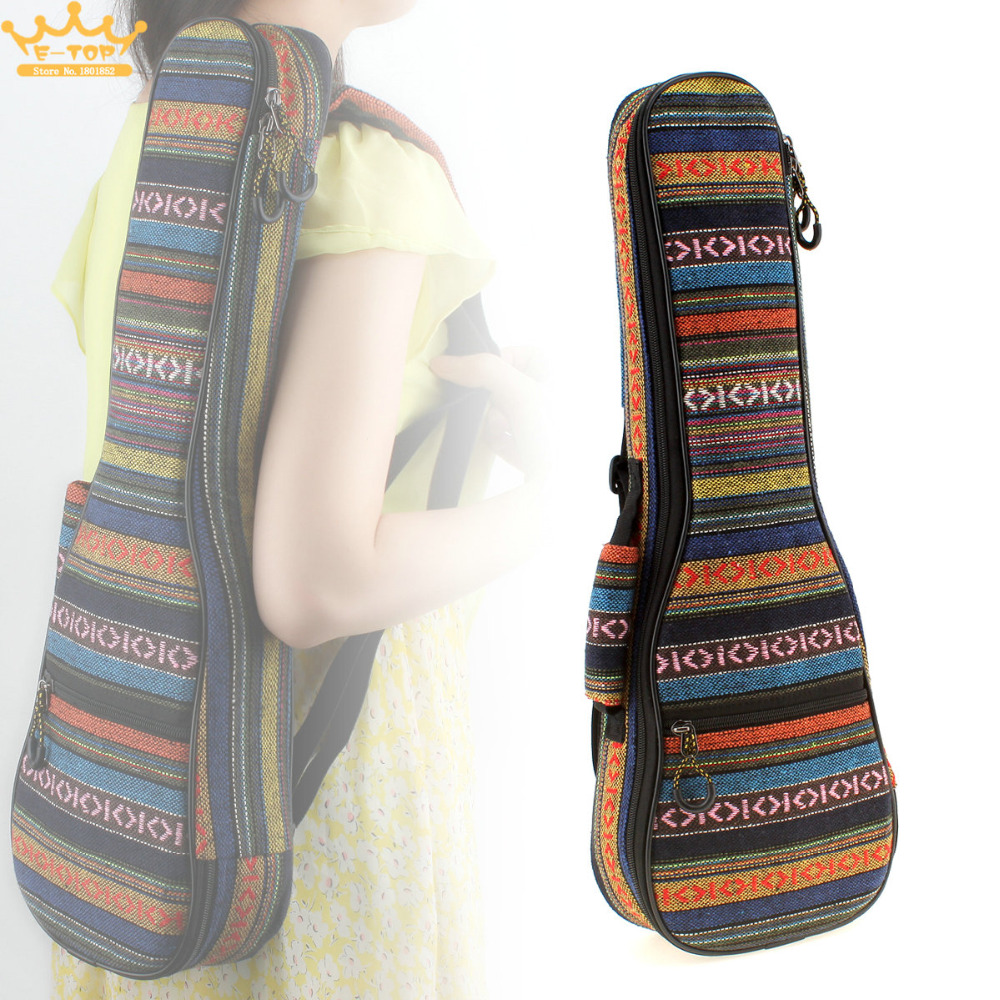 21 Inch/23 Inch Beautiful Soft Pad Cotton Thickening Folk Style Case Cover Ukulele Backpack Small Guitar Hand Portable Bag 21 2324 26 inch soprano ukulele waterproof guitar cover gig bag soft case light gear black uke ukelele guitarra