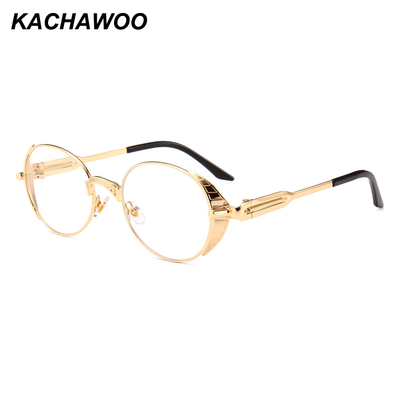 61001c0877 Kachawoo vintage oval glasses male gold metal frame clear lens punk round  eyeglasses for women accessories 2018-in Eyewear Frames from Men s Clothing  ...