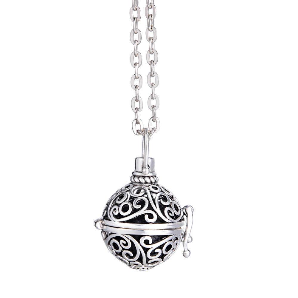 Aromatherapie Käfig Ball Diffusor Halskette Medaillon Halskette Glow In The Dark Halskette Lava Stein Halskette für Ätherisches Öl
