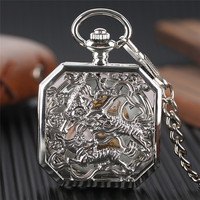 Luxury Watches For Men Women Charm Silver Fighting Tigers Fahsion Stylish Mechanical Pocket Watch Hand Winding