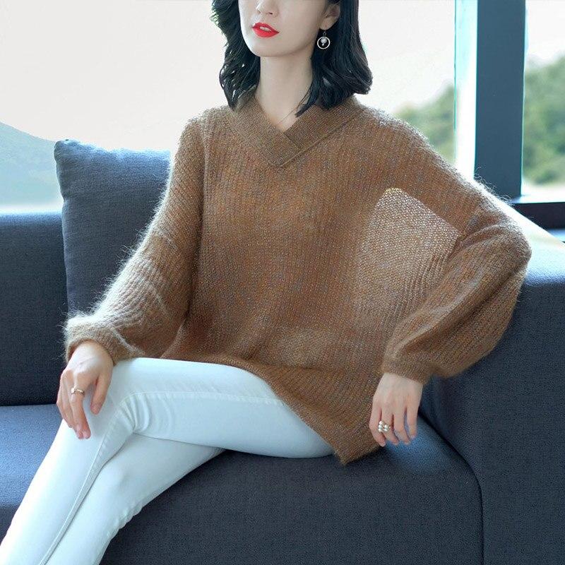 Automne Élégant Mode Blouson Dames Sauvage Mince Pour Laine Pull Section 2019 Color Tricots Grande Printemps Nouvelle Vs427 Taille Coffee Creux Femme XPZTwilkuO
