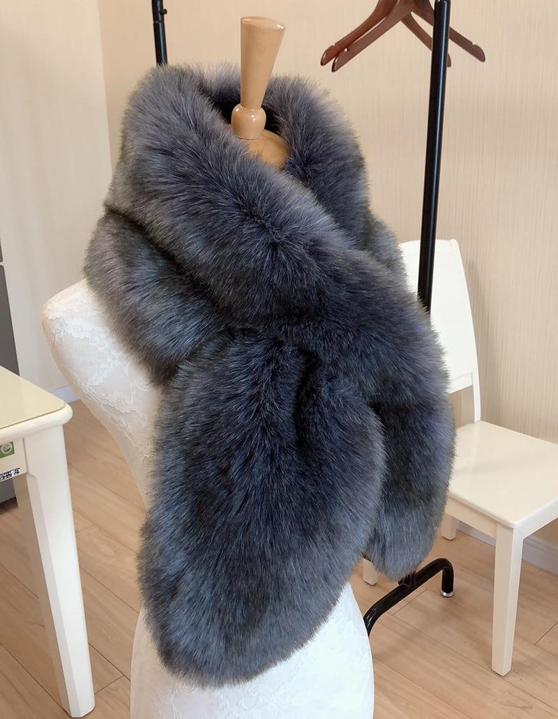 110cm Faux Fur Collar Winter   Scarf   Women Faux Knitted Rex Rabbit Fur   Scarves   Fur Neckerchief Winter Long   Wraps