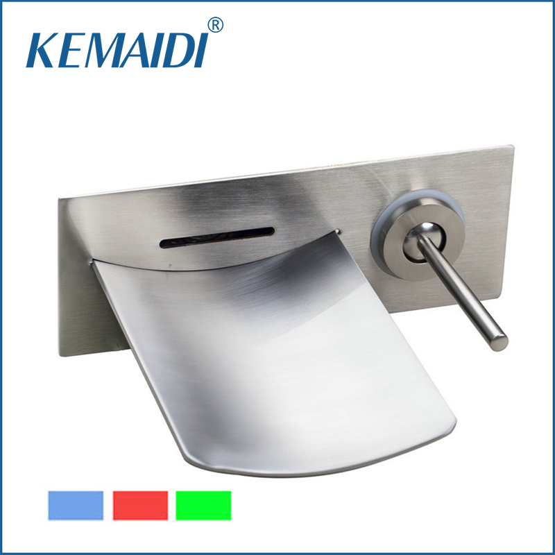 KEMAIDI Good Quality Bathroom LED Faucet Nickle Brushed Solid Brass Faucets Bathroom Waterfall Mixer Mixer Tap Wall Mounted