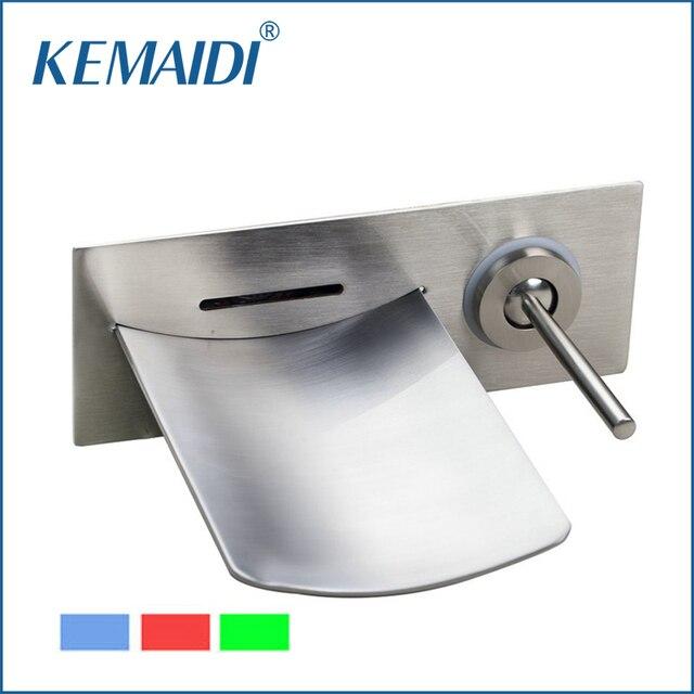 Kemaidi Gute Qualitat Badezimmer Led Wasserhahn Nickel Geburstet