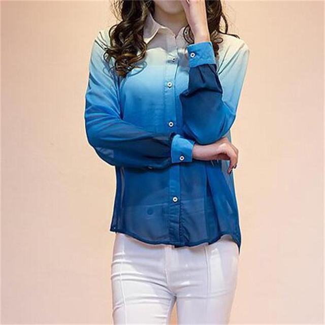Nova Marca Chiffon Blousa Das Mulheres da Cor Do Vintage Turn-Down Collar Tops Casual Camisa Impressão Plus Size Manga Longa Chiffon roupas