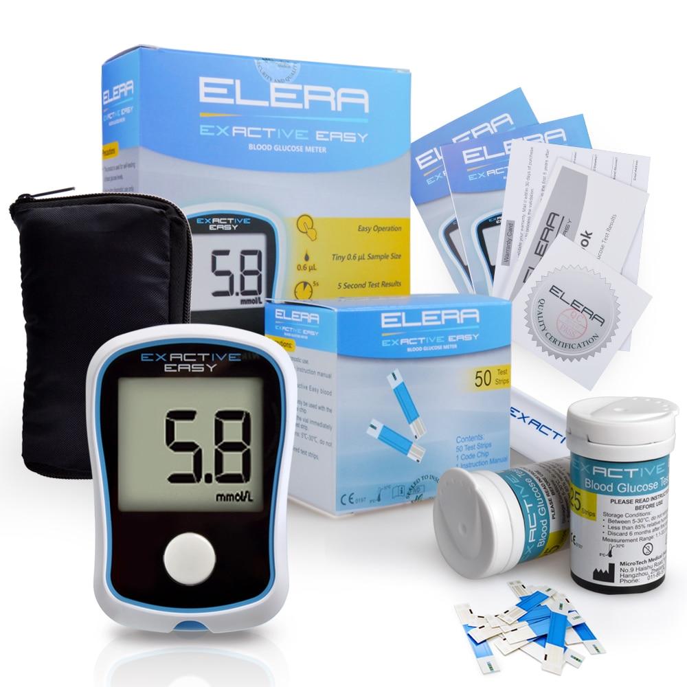 ELERA CE FDA Blut Glucose Meter glucometer Monitor Diabetiker Test glycuresis Monitor 50 streifen + 50 Nadeln blut Zucker
