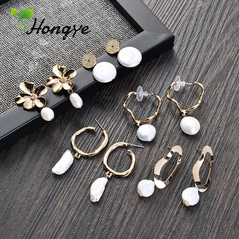 Hongye Pearl Drop Earrings Fashion Jewelry Quality Alloy Made Women Baroque Freshwater Pearl Girls Stylish Big Dangling Brinco