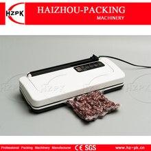 Hzpk seladora de alimento a vácuo, máquina elétrica de plástico do corpo branco para o armazenamento mantém 220v/110v com corte livre