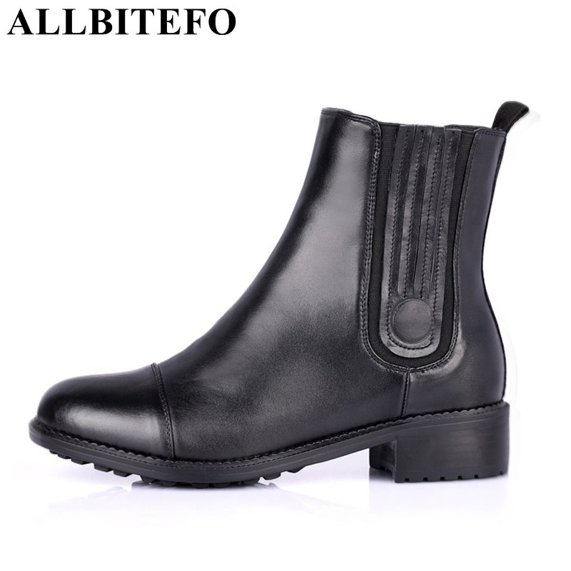 цены  ALLBITEFO fashion brand full genuine leather medium heel women boots thick heel high quality ankle boots for woman ladies shoes