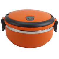 2016 New Hot Sale Single Layer Microwave Stainless Steel Bento Round Shape Lunch Box Portable Outdoor