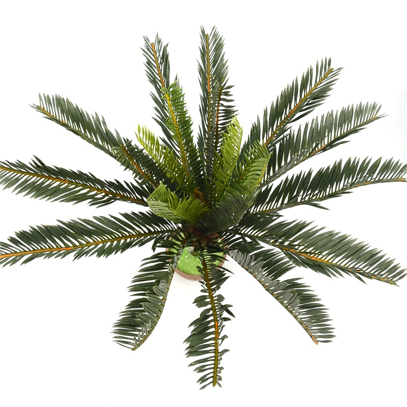 Artificial Palm Tree Green Leaf Plants Plastic Potted Bonsai Branches Leaves Garden For Home Wedding Table Ornaments Decoration Leather Bag