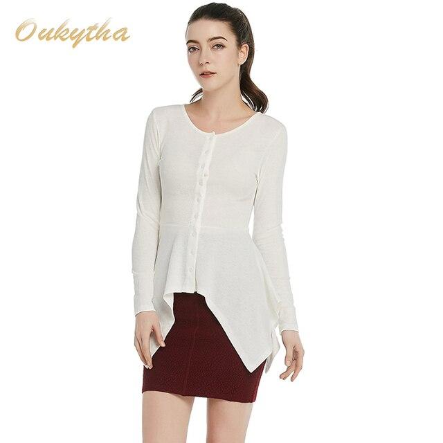 2017 Free Shipping New Fashion Women Korean Slim Cotton Black Coat Ladies Designer Irregular Long sleeve button tops T15150
