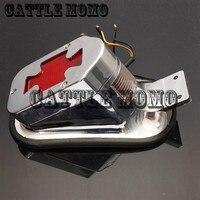 Modified Motorcycle cross Rear Tail Brake License Plate Light Lamp For Harley Bobber Chopper Brake Light Red