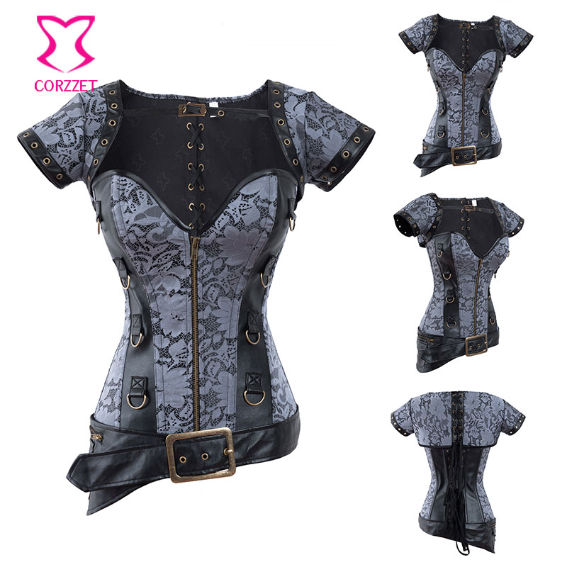 cc272c8c22 Floral Brocade Leather Steel Boned Overbust Corset Steampunk Jacket   Waist  Belt Gothic Clothing Burlesque Corsets and Bustiers-in Bustiers   Corsets  from ...
