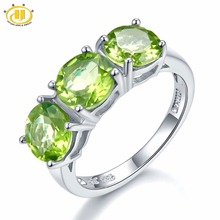 Hutang Wedding Womens Ring 4.2Ct Natural Peridot 925 Sterling Silver Rings Green Gemstone Fine Elegant Classic Jewelry for Gift