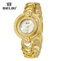 Belbi yeni marka kadınlar kuvars bileklik saatler lüks paslanmaz çelik altın İzle bayanlar moda elbise çift saatı dial