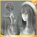 Air bang gradient grey Wig Synthetic Heat Resistant Kawaii cosplay wig new fashion medium length young girl lolita gray XD wig
