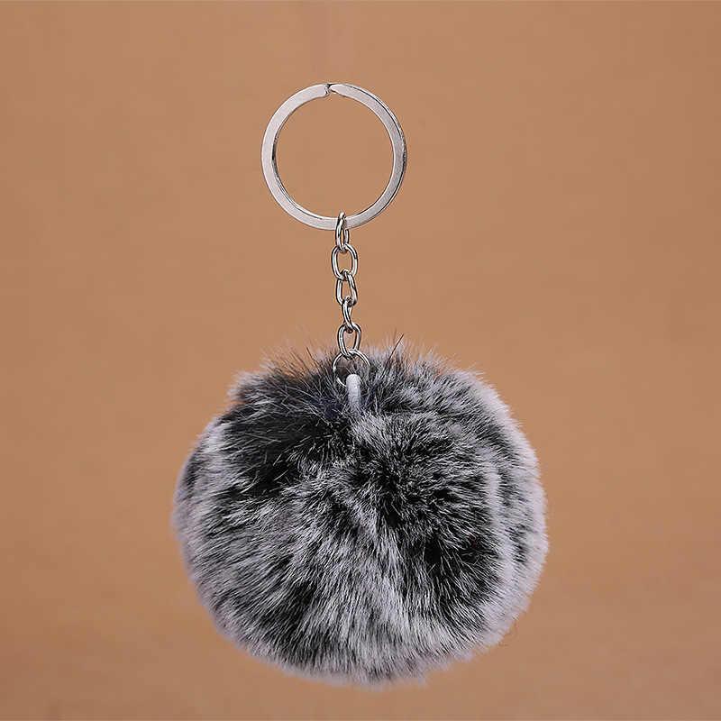 8 cm Dupla Cor Fluffy Faux Rex Rabbit Fur Bola Pom Pom Keychain Trinket Chaveiro de Prata Encantos do Saco Das Mulheres presente da Festa de casamento