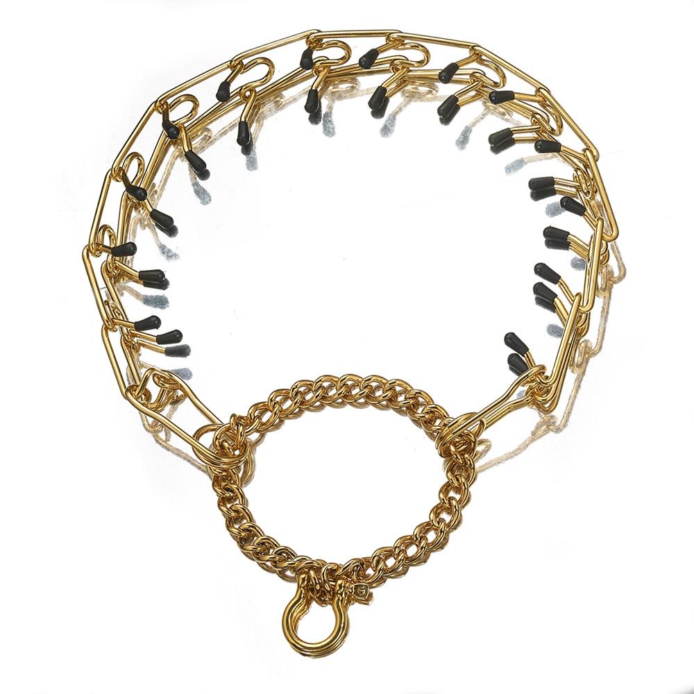 Gold training dog chain adjustment large dog chain stimulate big dog Collar chrome metal Train stimulation pet necklace collars zanmax 880 remote dog training collar