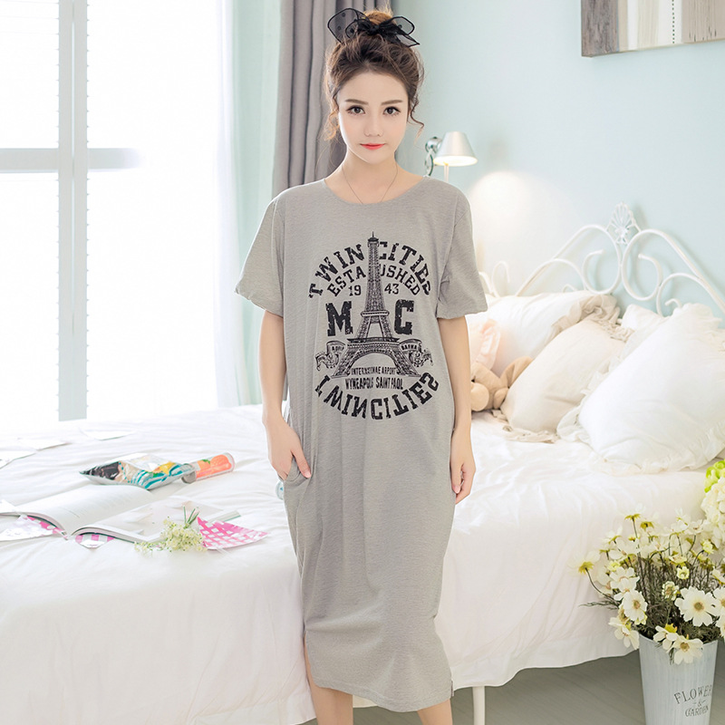 2018 Spring Summer Women Cotton   Nightgown   Cute Sleepwear   Sleepshirt   & Casual Home Clothes Plus Size 3XL