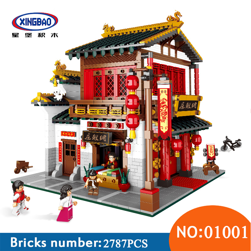 XingBao 01001 2787Pcs Chinese Style The Chinese Silk and Satin Store Set Building Blocks Bricks Toys For Children bride and bridegroom custom made tang suit chinese wedding bricks set model building blocks education toys for children kl9007