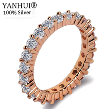 newbark high quality big cz half eternity rings rose gold and silver color prongs crown wedding jewelry rings for women YANHUI Women Gift 925 Silver Rose Gold Color Zircon Ring Jewelry Wedding Rings For Women Accessory anillo High Quality RA028