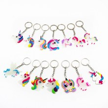 Glow In Dark Little Fairytale Unicorn Keychain Holder Chaveiro Bag Charm Key Chain Pendant Girl Women Gift Jewelry(China)