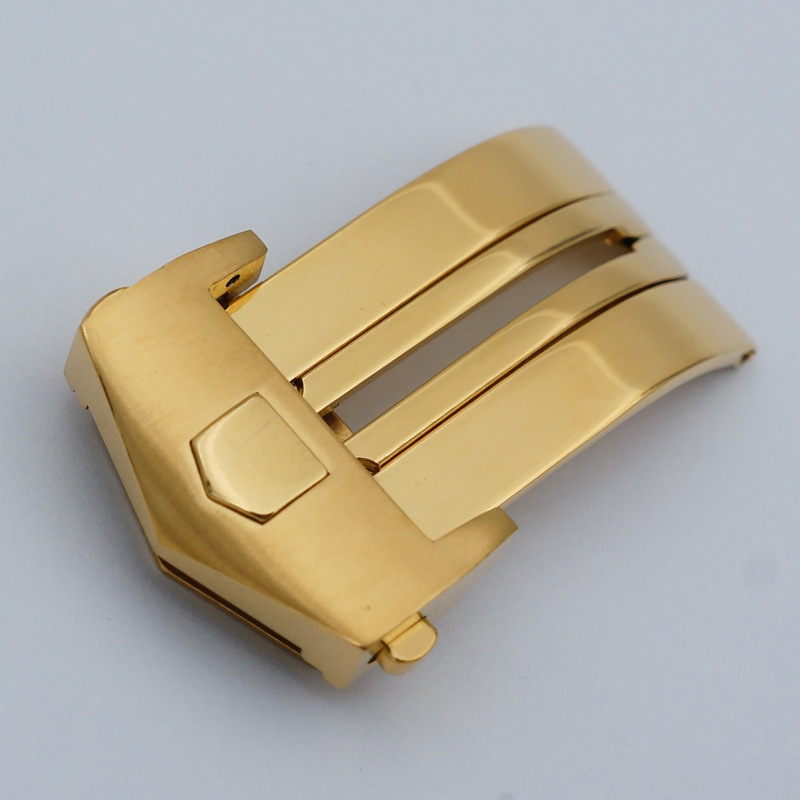цены на MAIKES New With Tag 18mm 20mm 316L Stainless Steel Gold Folding Clasp Watch Band Strap Butterfly Buckle Case For Heuer Watch в интернет-магазинах